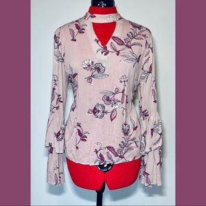 Floral Blouse with Big Bell Sleeves
